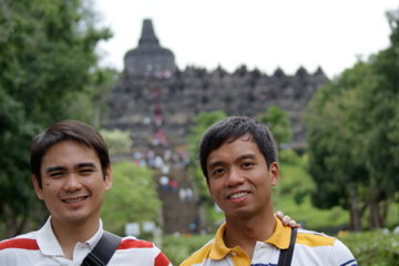 Angelo and George in Borobudur, Indonesia