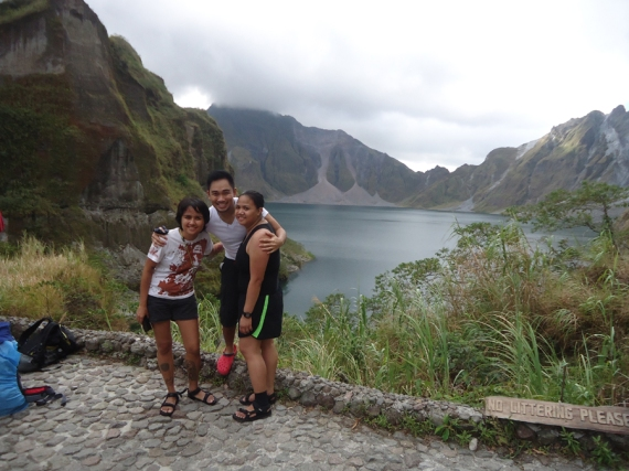 with friends at the summit of Mount Pinatubo, Philippines