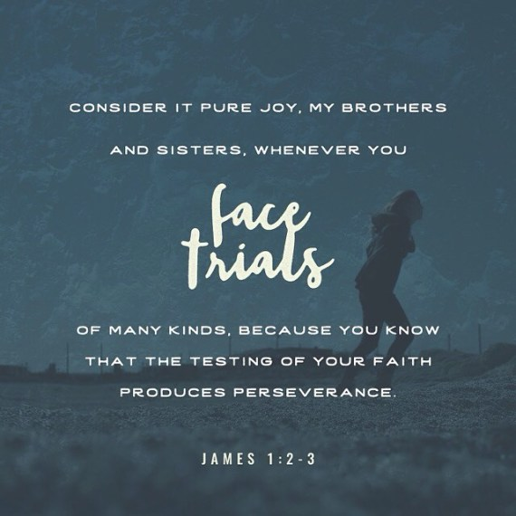 """""""Consider it pure joy, my brothers and sisters, whenever you face trials of many kinds, because you know that the testing of your faith produces perseverance."""" -James 1:2-3"""