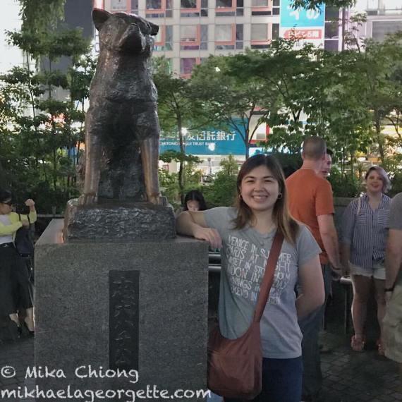 beside the statue of Hachiko at Shibuya station, Tokyo